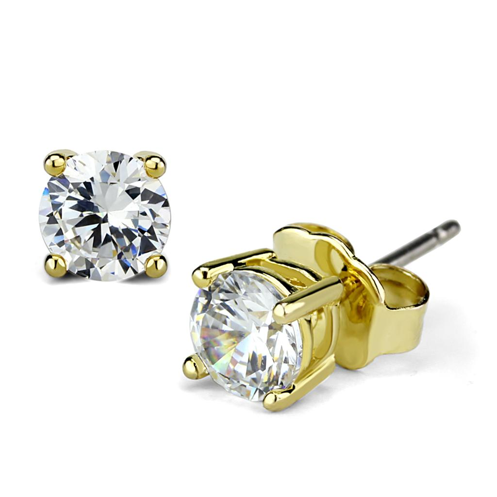 LO3958 Gold Brass Earrings with AAA Grade CZ in Clear