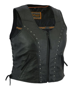 DS241 Women's Lightweight Vest with Rivets Detailing