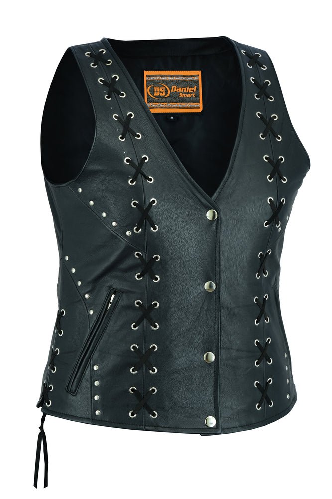 DS234 Women's Open neck Vest with Lacing Details