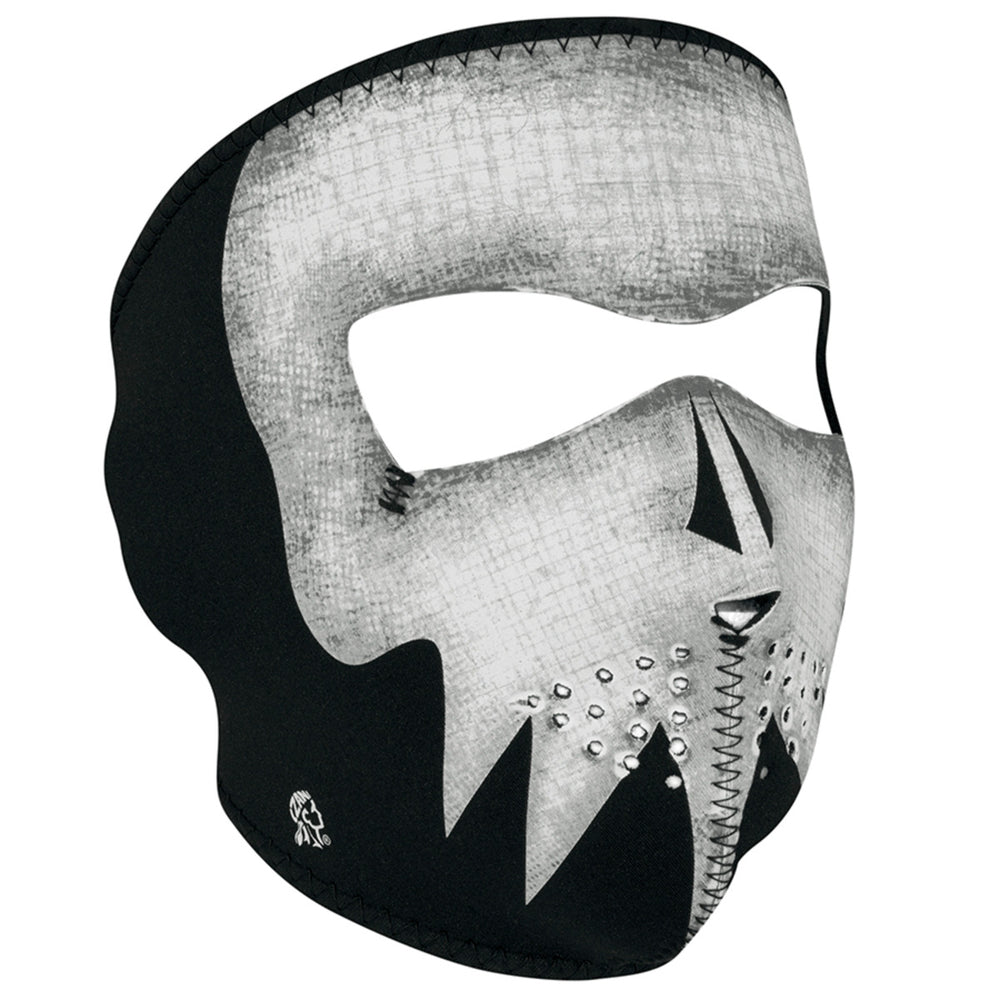 WNFM081G ZAN® Full Mask- Neoprene- Gray Skull, Glow in the Dark