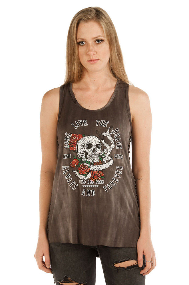 7509CHAR Long Live The Brave Skull and Roses