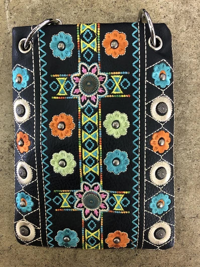 CHIC266-BLK Western feel and multi embroidery design crossbody handbag