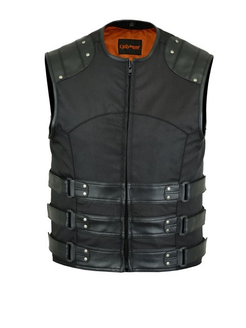 DS608 Men's Textile/ Leather Updated SWAT Team Style Vest