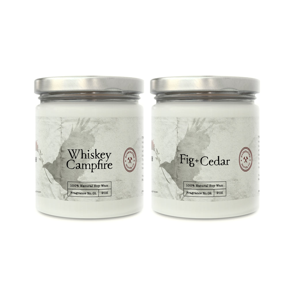 Whiskey Campfire and Fig+Cedar Soy Candles