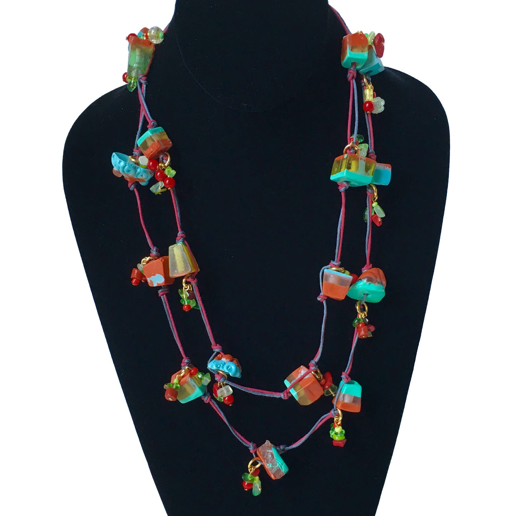 Candy Crunch Necklace: Turqoise and Red with Baubles