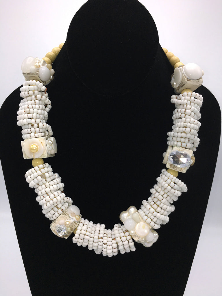 Chunky White Bold and Bright Necklace