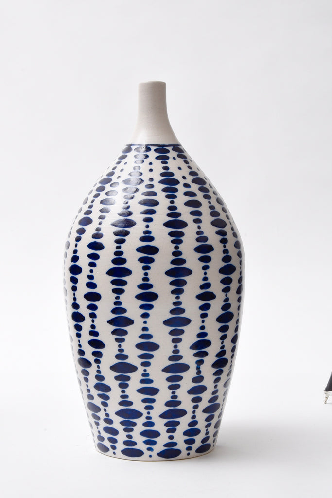 "Anthony Shapiro Collection: Cobalt Blue and White Dotted Bottle   15"" High"