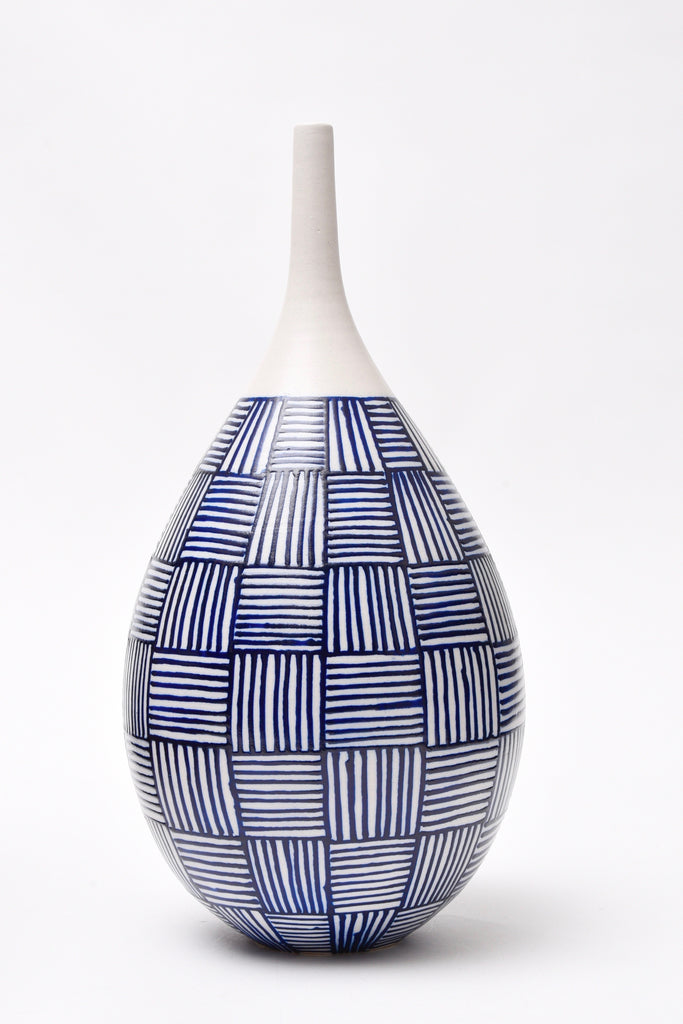 "Anthony Shapiro Collection: Cobalt Blue & White Bottle, Basket Weave 16"" High"
