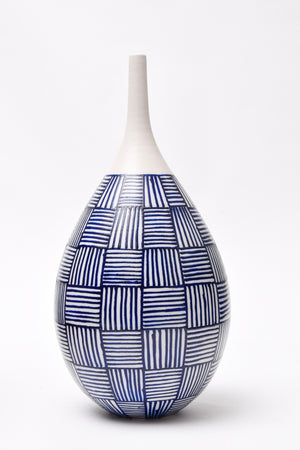 "Anthony Shapiro Collection: 16""h Cobalt Blue & White Basket Weave Ceramic Bottle"