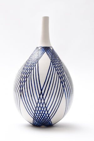 "Anthony Shapiro Collection: 12 1/2""h Cobalt Blue & White Ceramic Bottle with Crossed Lines"