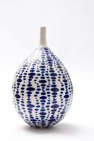 "Anthony Shapiro Collection: Cobalt Blue and White Dotted Bottle  12"" High"