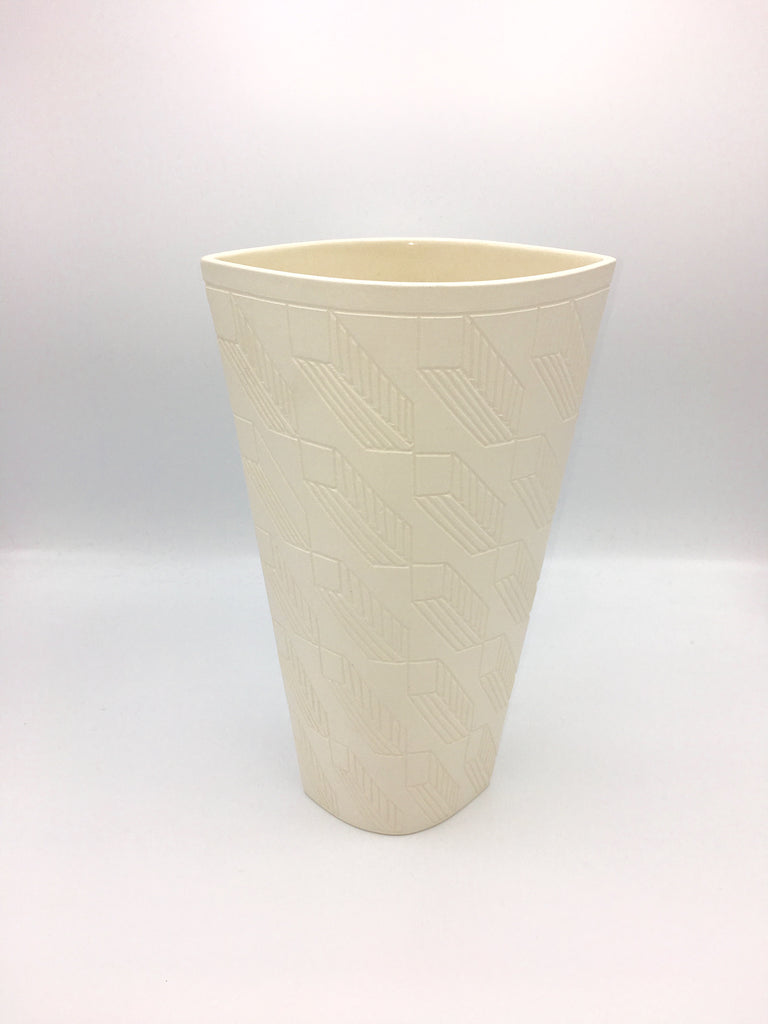 Anthony Shapiro Collection: Cream Elliptical Vase with Closed Rectangles