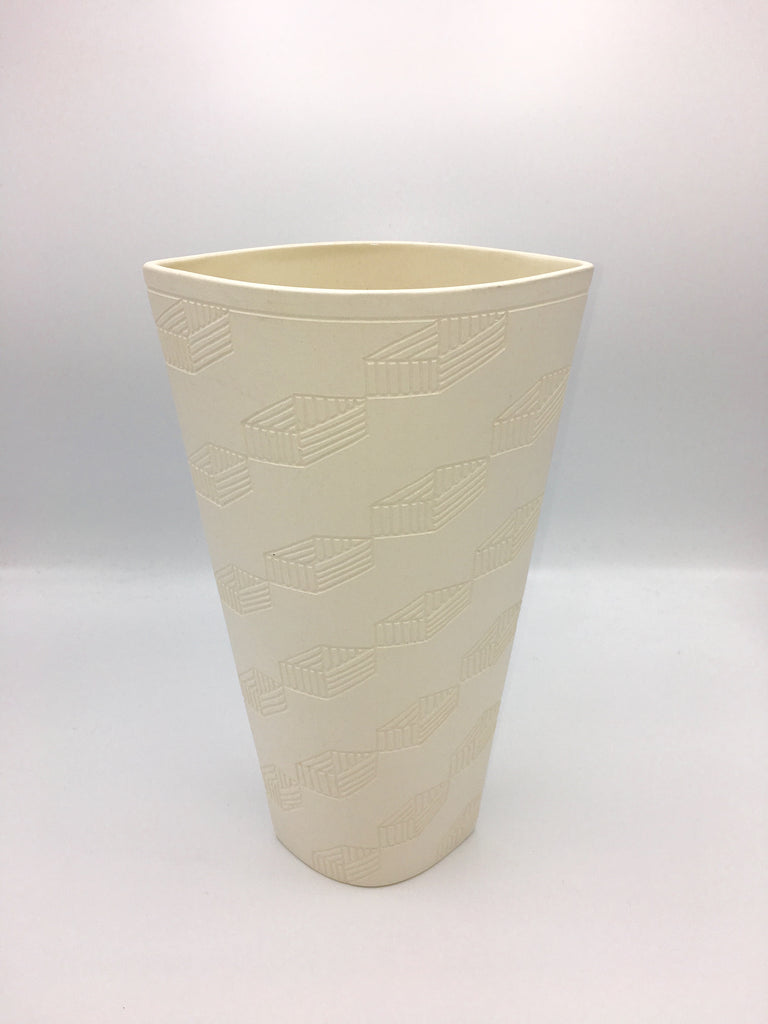 Anthony Shapiro Collection: Cream Elliptical Vase with Open Rectangles