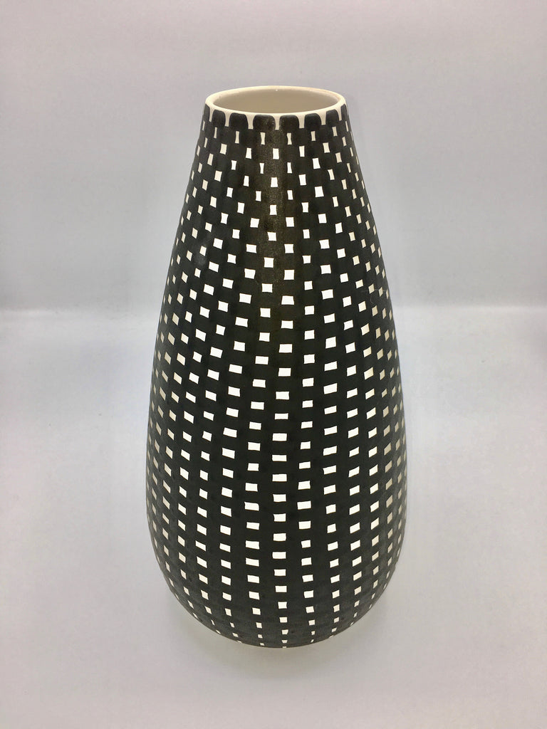 JP Meyer Ceramic Collection: Droplet Vase, Black with White Checks