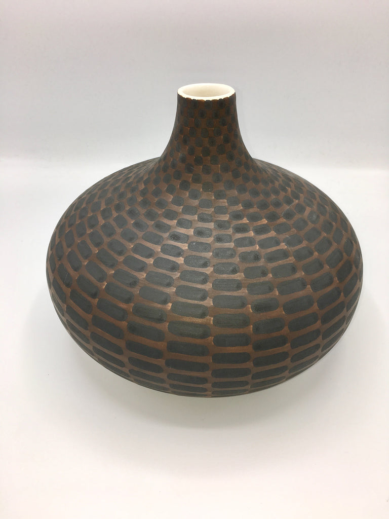 JP Meyer Ceramic Collection: Ball Jar Vase, Brown with Black Rectangles
