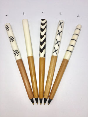 Writer's Delight Set of Five Bone and Wood Pens