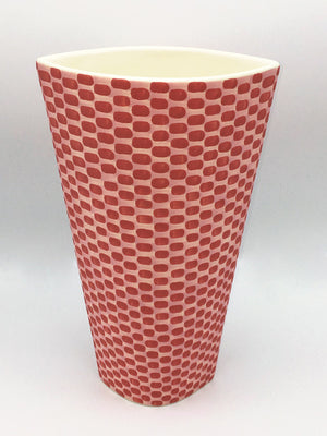 JP Meyer Ceramic Collection: Eye Vase in Red and White Lozenges