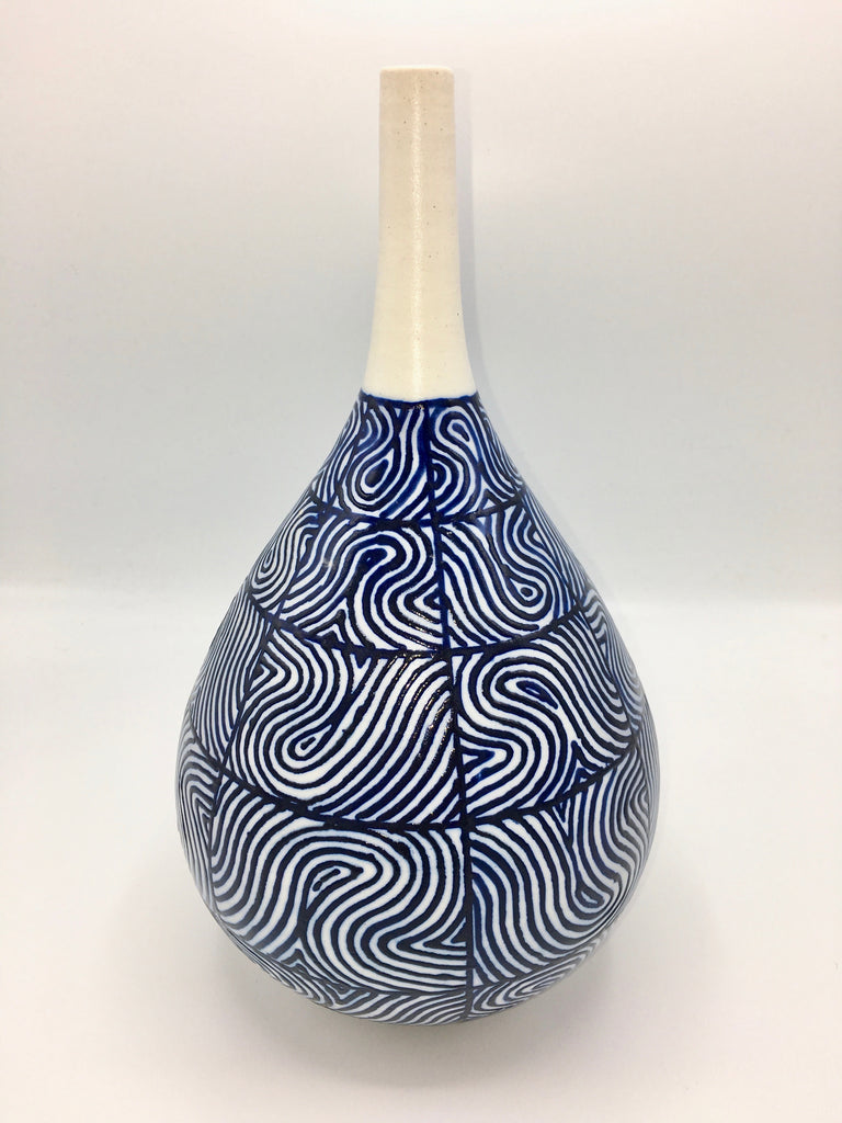 Anthony Shapiro Collection: Cobalt Blue & White Bottle with Swirls