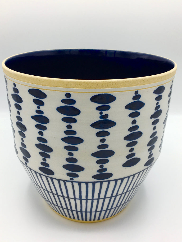 "Anthony Shapiro Collection: Cobalt Blue & White Dotted Planter with Vertical Lines  8"" High"