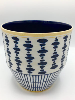 "Anthony Shapiro Collection: 8""h Cobalt Blue & White Dotted Ceramic Planter with Vertical Lines"