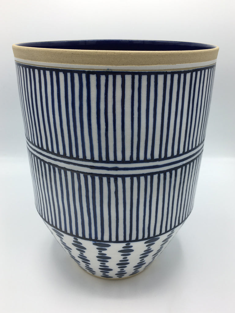 "Anthony Shapiro Collection: Cobalt Blue & White Dotted Planter with Vertical Lines   11"" High"