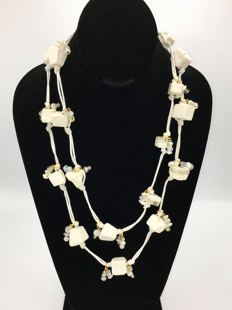 Candy Crunch Necklace: White with Baubles