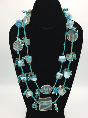 Candy Crunch Necklace: Aqua/Clear with Baubles and Blasts
