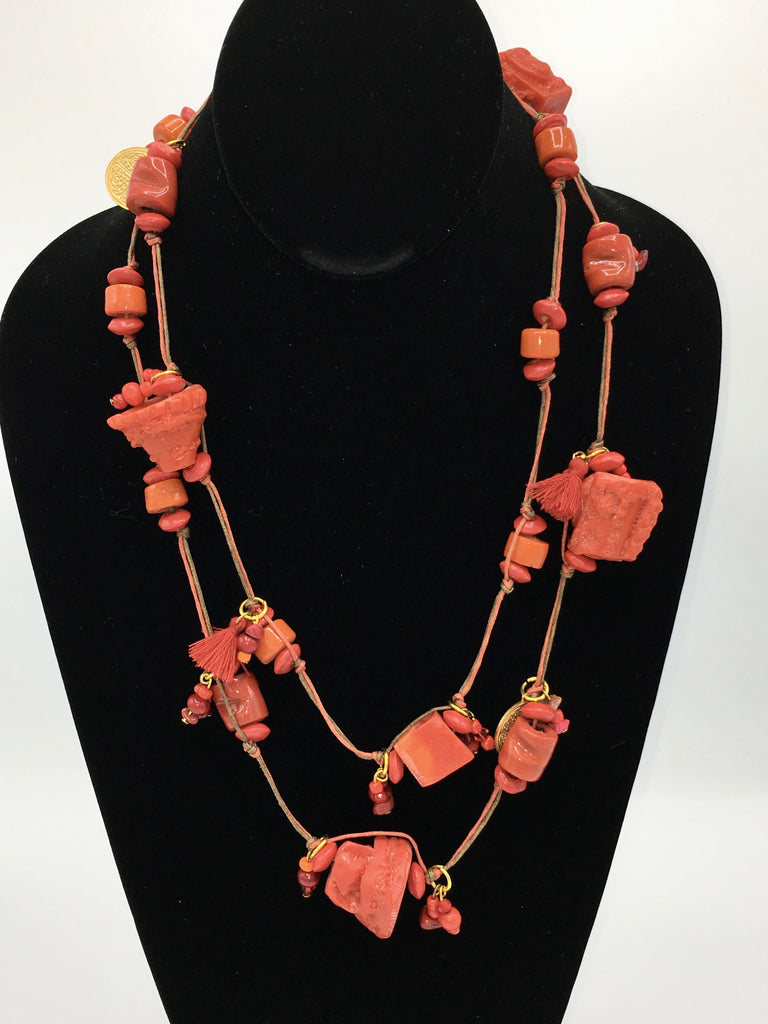 Candy Crunch Necklace: Orangey Red with Baubles & Tassels