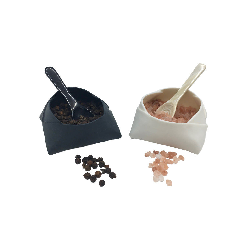 Lisa Firer Collection: Porcelain Salt and Pepper Set (with Spoons)