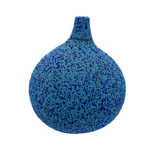 Large Beaded Gourd, Aqua with Blue Dots