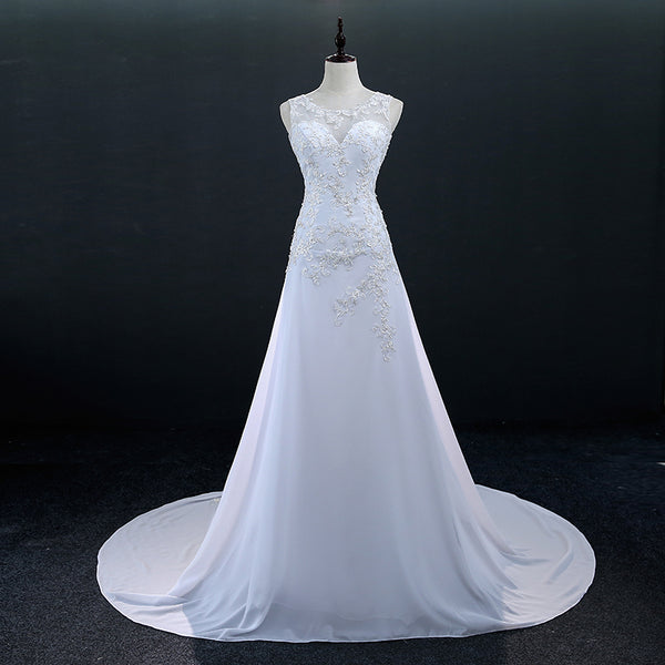 Sexy Illusion Embroidery Chiffon Mermaid Wedding Dresses
