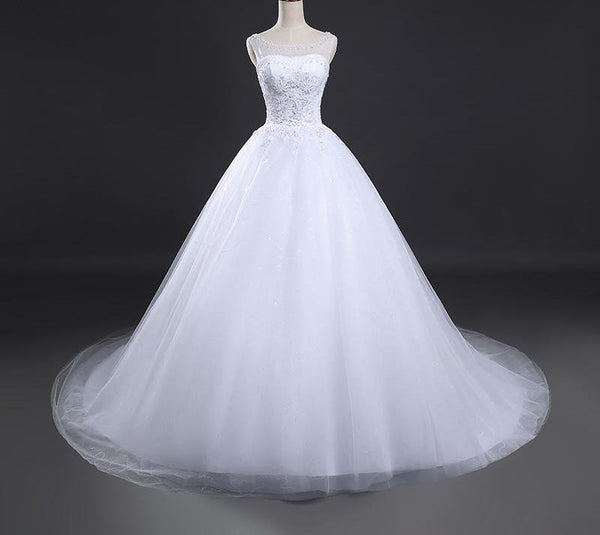 Luxury Crystal Vintage Lace Up Long Train Wedding Dress