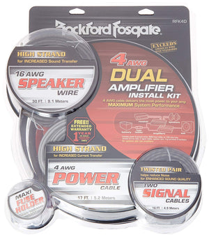 Rockford Fosgate - RFK4D 4 Gauge Power Kit w/ Speaker Wire & 2 x 5m RFI Series RCA & Distribution Block
