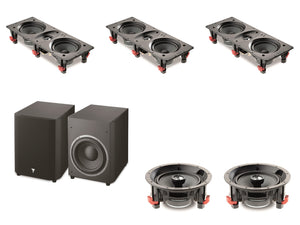 "GL Pro Sound - Home Cinema Pack 1: In-Ceiling/In-Wall Speakers, Powered Subwoofer, 5.1 A/V Receiver, Projector and 100"" Fixed Frame"