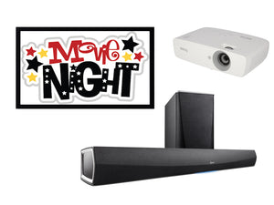 "GL Pro Sound - Kids / Rumpus Room Pack 1: Soundbar with Wireless Subwoofer, Projector and 100"" Fixed Frame"