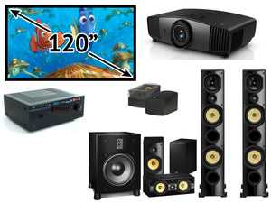 "GL Pro Sound - Home Cinema Pack 6: PSB Imagine X2T 5.1.2 Atmos Pack, NAD 7.2 A/V Receiver, BenQ W5700 4K Projector and 120"" Fixed Frame"