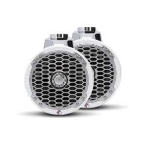 "Rockford Fosgate - 6.5"" Punch Series Marine Wakeboard Tower Speakers with Enclosure & Sports Grille - White"