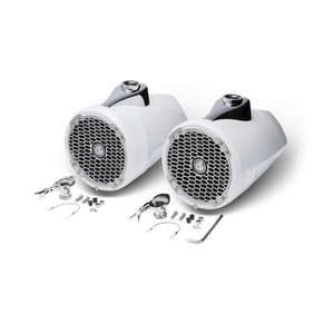 "8"" Punch Series Marine Wakeboard Tower Speakers with Enclosure & Sports Grille - White"