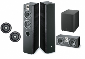 "GL Pro Sound - Home Cinema Pack 3: Focal Chorus Floorstanding Fronts, Focal Chorus Centre, Pair of In-Ceiling Speakers, Sub300P Powered Subwoofer, 7.2 A/V Receiver, Projector and 100"" Fixed Frame"