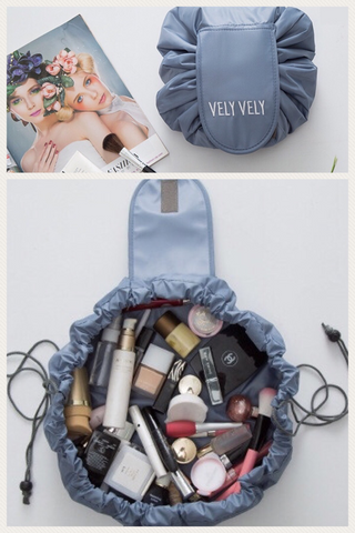 Carry-It-All and Lay-it-all Out Drawstring Cosmetic Travel Bag