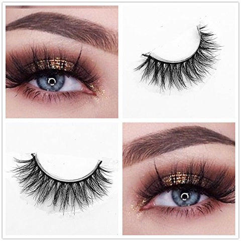 Natural looking 3D 100% Hand-Made Mink Strip Lashes 3 PAIR