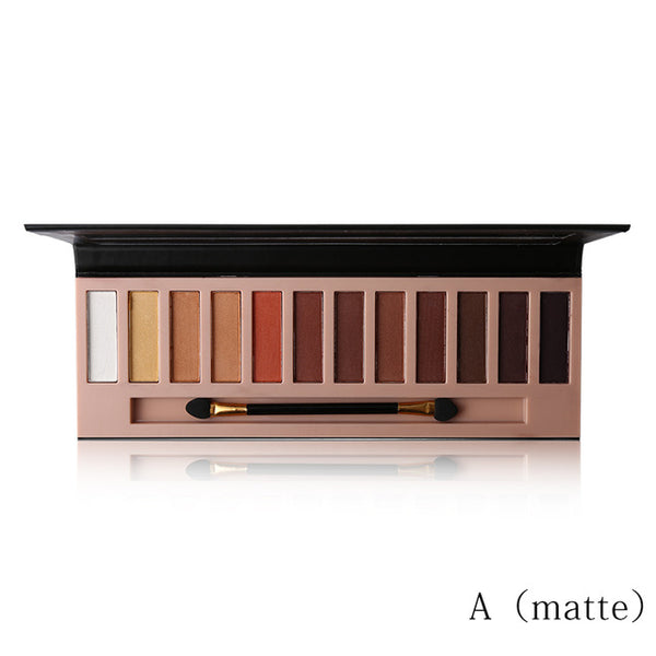 12 Color Nude No Makeup Look Matte Shimmer Eyeshadow Pallette