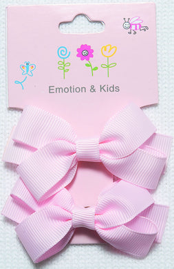 Pink Large Plain Bow Hair Clips - 2 pack
