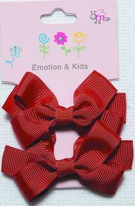 Red Large Plain Bow Hair Clips - 2 pack