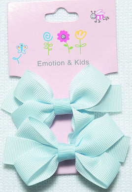 Blue Large Plain Bow Hair Clips - 2 pack