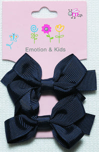 Navy Large Plain Bow Hair Clips - 2 pack