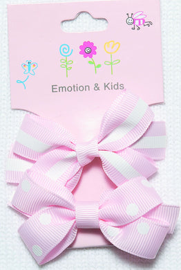 Pink Stripes & Spots Large Bow Hair Clips - 2 pack