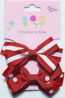 Red Stripes & Spots Large Bow Hair Clips - 2 pack