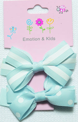 Blue Stripes & Spots Large Bow Hair Clips - 2 pack