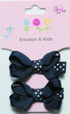 Navy Bow with Polka Dot Band Bow Hair Clips - 2 pack